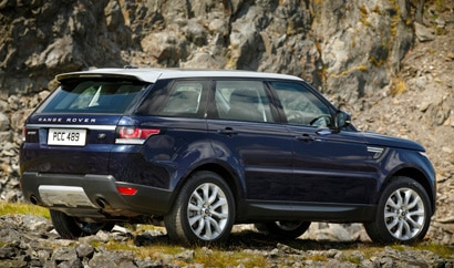 A three-quarter rear view of a 2014 Range Rover Sport