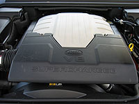 A view of the engine in the 2006 Range Rover Sport Supercharged