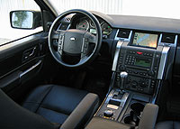 An interior view of the 2006 Range Rover Sport Supercharged