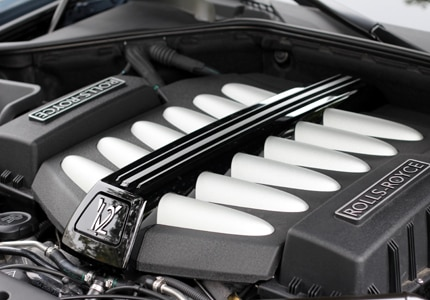 The 6.6-liter V12 engine in the 2011 Rolls Royce Ghost