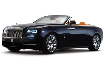 A three-quarter front view of the 2016 Rolls-Royce Dawn