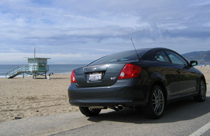 A three-quarter rear view of a 2005 Scion tC