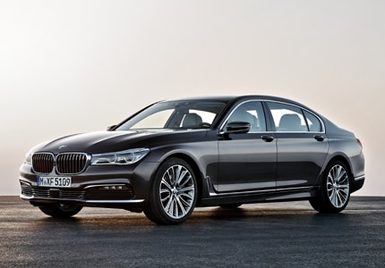 A three-quarter front view of the BMW 750i xDrive with Active Driving Assistance Plus