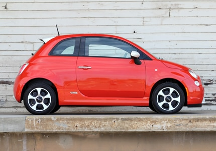 A side view of the Fiat 500e, one of GAYOT's Top 10 Electric Cars