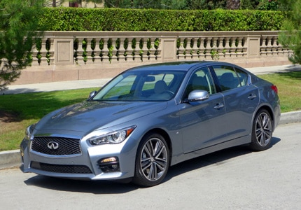 A three-quarter front view of the Infiniti Q50S with intelligent cruise control and active lane control