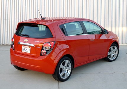 A three-quarter rear view of the Chevrolet Sonic, previously one of GAYOT's Top Small Cars