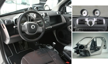 "Views of the interior and ""Tridion"" safety cell in the 2008 smart fortwo passion coupe"