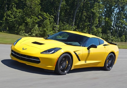 A three-quarter front view of the Chevrolet Corvette Stingray