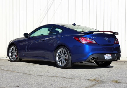 A three-quarter rear view of the Hyundai Genesis Coupe 3.8