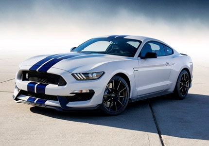 A three-quarter front view of the 2015 Ford Shelby, one of GAYOT's Top 10 Muscle Cars