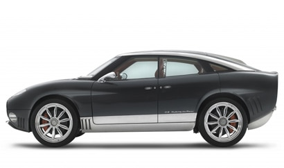 A side view of a 2012 Spyker D8 Peking-to-Paris
