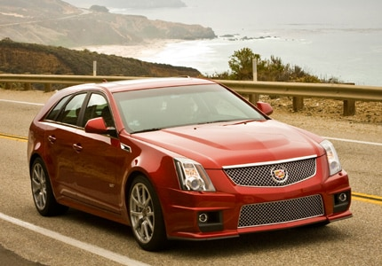 A three-quarter front view of the 2014 Cadillac CTS-V Wagon