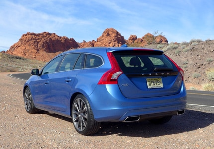 A three-quarter rear view of the Volvo V60 T5 E Drive, previously one of GAYOT's Top 10 Station Wagons