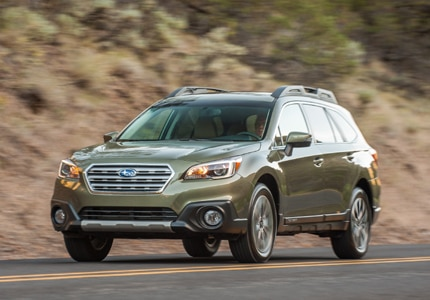 A three-quarter front view of a 2015 Subaru Outback