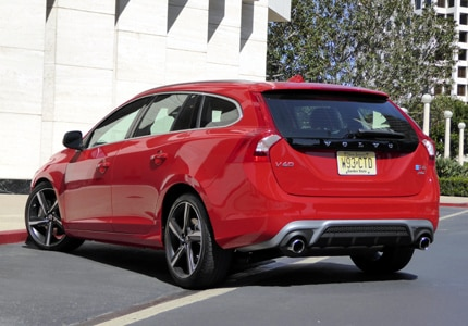 A three-quarter rear view of the 2016 Volvo V60 R-Design
