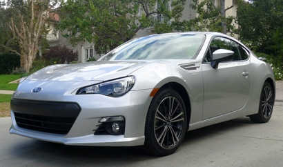 A three-quarter front view of a silver Subaru BRZ Limited