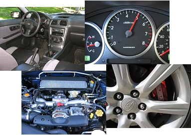 Views of the 2006 Subaru Impreza WRX TR's interior, engine and wheels
