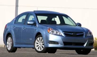 A three-quarter front view of a 2010 Subaru Legacy