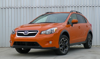 A three-quarter front view of the 2014 Subaru XV Crosstrek
