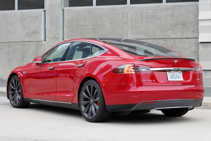 A three-quarter rear view of the 2016 Tesla Model S P90D Ludicrous