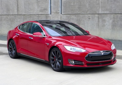 A three-quarter front view of the 2016 Tesla Model S P90D, GAYOT's Car of the Month for January 2016