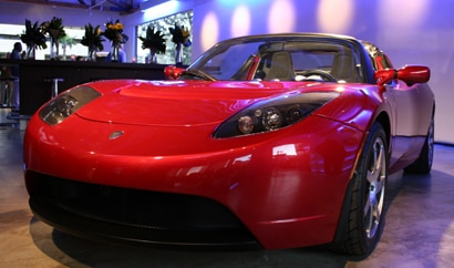 A three-quarter front view of the Tesla Roadster
