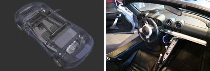 Views of the 2008 Tesla Roadster's all-electric powertrain and front interior