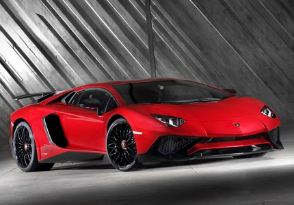 A three-quarter front view of the Lamborghini Aventador LP750-4 SV