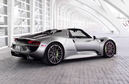 A three-quarter rear view of the Porsche 918 Spyder