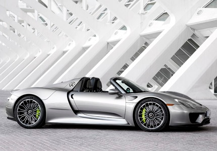 A side view of the Porsche 918, one of GAYOT's Top 10 Supercars