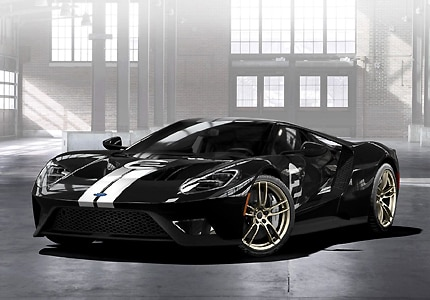 A three-quarter front view of the 2017 Ford GT, heritage edition