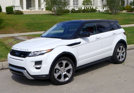 A three-quarter front view of the 2015 Range Rover Evoque 5-Door