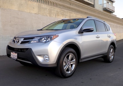 A three-quarter front view of the 2015 Toyota RAV4