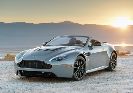 A three-quarter front view of the 2017 Aston Martin V12 Vantage Roadster