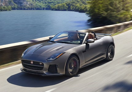 A three-quarter front view of a 2017 Jaguar F-TYPE Convertible