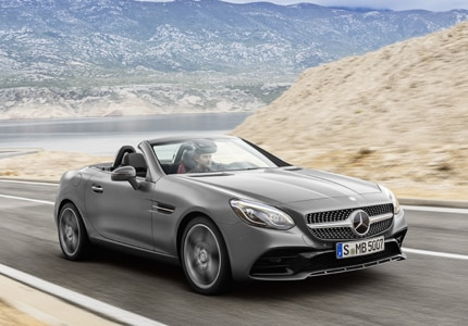 A three-quarter front view of a 2017 Mercedes-Benz SLC Roadster