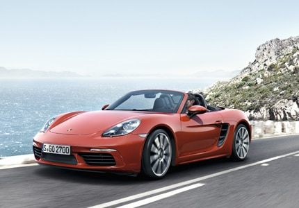 A three-quarter front view of a 2017 Porsche 718 Boxster Roadster