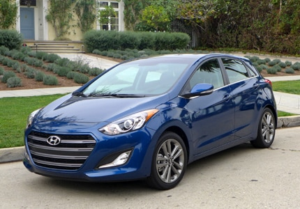 A three-quarter front view of the 2016 Hyundai Elantra GT, one of GAYOT's Top 10 Cheap Cars