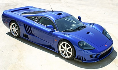 A three-quarter front view of a blue Saleen S7 Twin Turbo