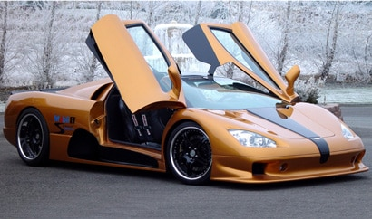 A three-quarter front view of an orange and black 2008 SSC Ultimate Aero TT