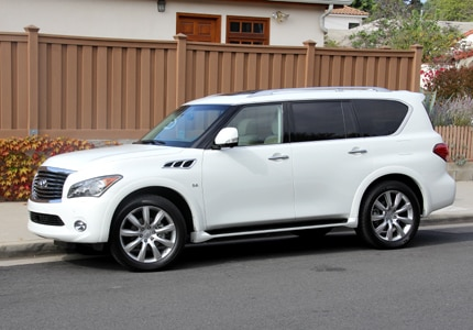 A three-quarter front view of the Infiniti QX80 AWD