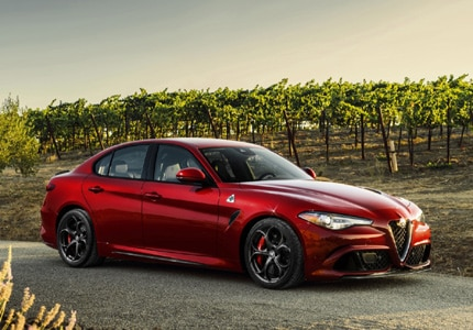 A three-quarter front view of the 2017 Alfa Romeo Giulia
