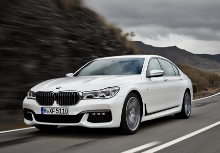 A three-quarter front view of the 2015 BMW 7 Series Li sedan