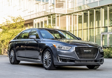 A three-quarter front view of the 2017 Genesis G90 luxury sedan