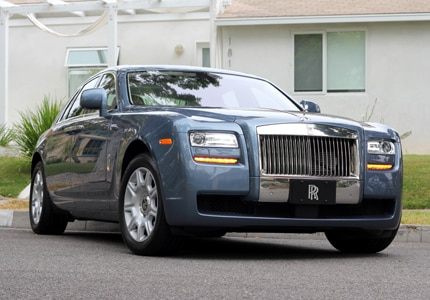 A three-front view of the 2011 Rolls Royce Ghost, previously featured in GAYOT's Top 10 Luxury Sedans