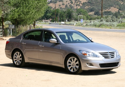 A three-quarter front view of a 2009 Hyundai Genesis Sedan