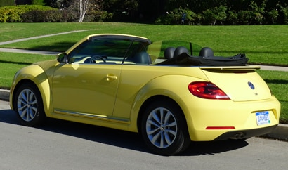A three-quarter rear view of the 2013 Volkswagen Beetle TDI Convertible