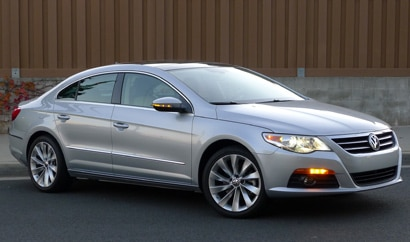 A three-quarter front view of a silver 2012 Volkswagen CC Lux Limited
