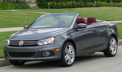 A three-quarter front view of a 2012 Volkswagen Eos Executive