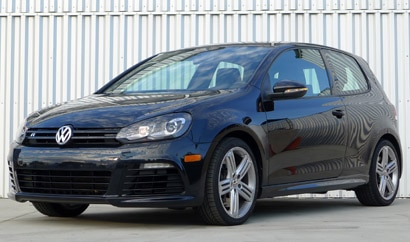 A three-quarter front view of a 2012 Volkswagen Golf R 2-Door